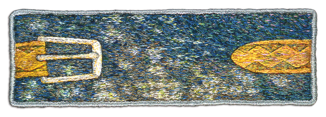 "Sky Pond, 5.8×17.1cm (2.3×6.75""). Cotton and silk threads on cotton. 1997."
