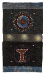 "Dark Hours, 41.6×24.1cm (16.5×9.5""). Cotton, silk, metallic, and rayon threads on rayon velvet and painted cotton. 2009."