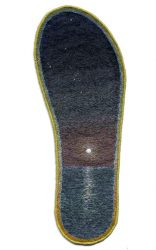 "Orion Diving, 29.2 × 10.8cm (11.5 × 4.25""). Cotton and silk threads on cotton. 1997."