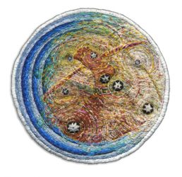 "Perseus Diving, 12.1cm (4.75"" diameter). Cotton and silk threads on wool. 2007."
