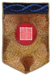 "Pocket Handkerchief, 18.1×12.1cm (7.13×4.75""). Cotton and silk threads on cotton. 1997."