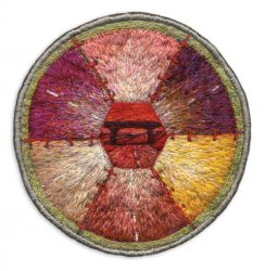 "Red Underpass, 9.5cm (3.75"" diameter). Cotton and silk threads on cotton. 2005."