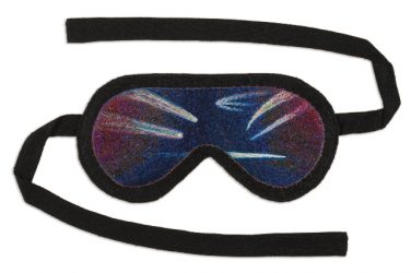 "Sleep Mask, 9.2×19.1cm (3.63×7.5""). Cotton and silk on wool; 63.5cm (25""). Silk straps. 2009."