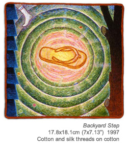"Backyard Step, 17.8x18.1cm (7x7.13""). Cotton on silk threads on cotton. 1997."