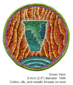 "Green Vase, 6.4cm (2.5"" diameter). Cotton, silk and metallic threads on wool. 1988."
