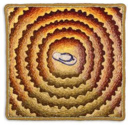 "Summer Vortex, 15.9×15.2cm (6.25×6""). Cotton and silk threads on cotton. 1997."