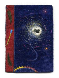 "Breviary, 12.7x17.8 cm (7x5""). Cotton, silk, rayon, and metallic threads on rayon velvet and cotton fabric. 2010."
