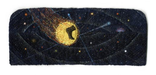 "Orbit, 10.2x35.4cm (4x10""). Cotton, silk, rayon, and metallic threads on rayon velvet and cotton. 2011."