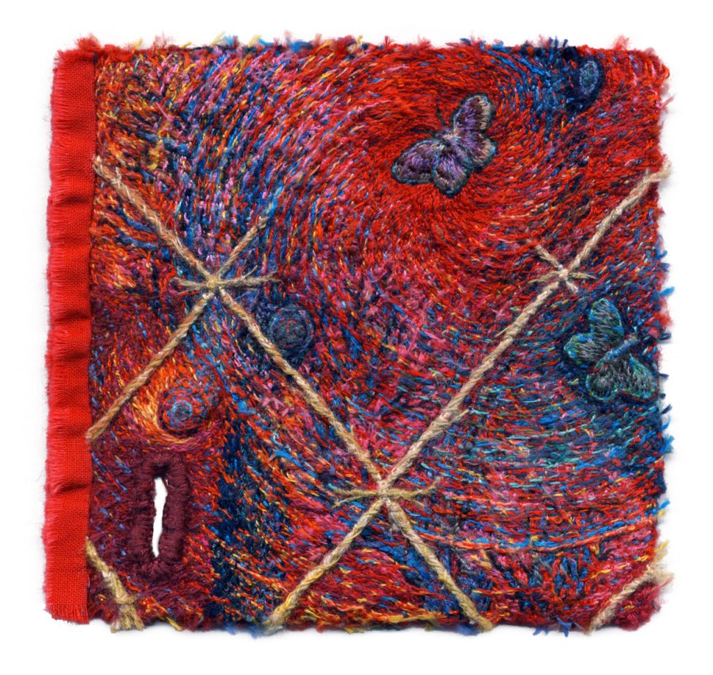 "Fire Swatch, 4"" x 4 ¼"". Cotton and silk threads on wool fabric. 2018."