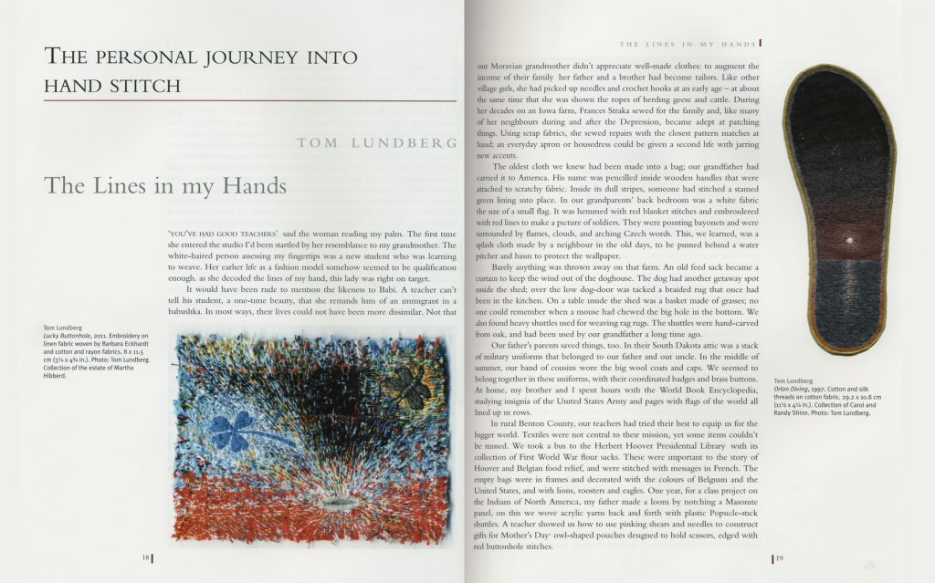 """The Lines in My Hands."" Hand Stitch Perspectives, Alice Kettle and Jane McKeating, editors. London: Bloomsbury Publishing, pp. 18–27."
