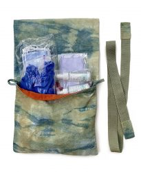 """2020 Supply Bag, Bag: raw silk dyed with marigolds and indigo. Lining: linen-cotton blend. Strap: cotton webbing with dyed raw-silk end tabs. Open: 10 1/4"""" x 19 1/4""""."""