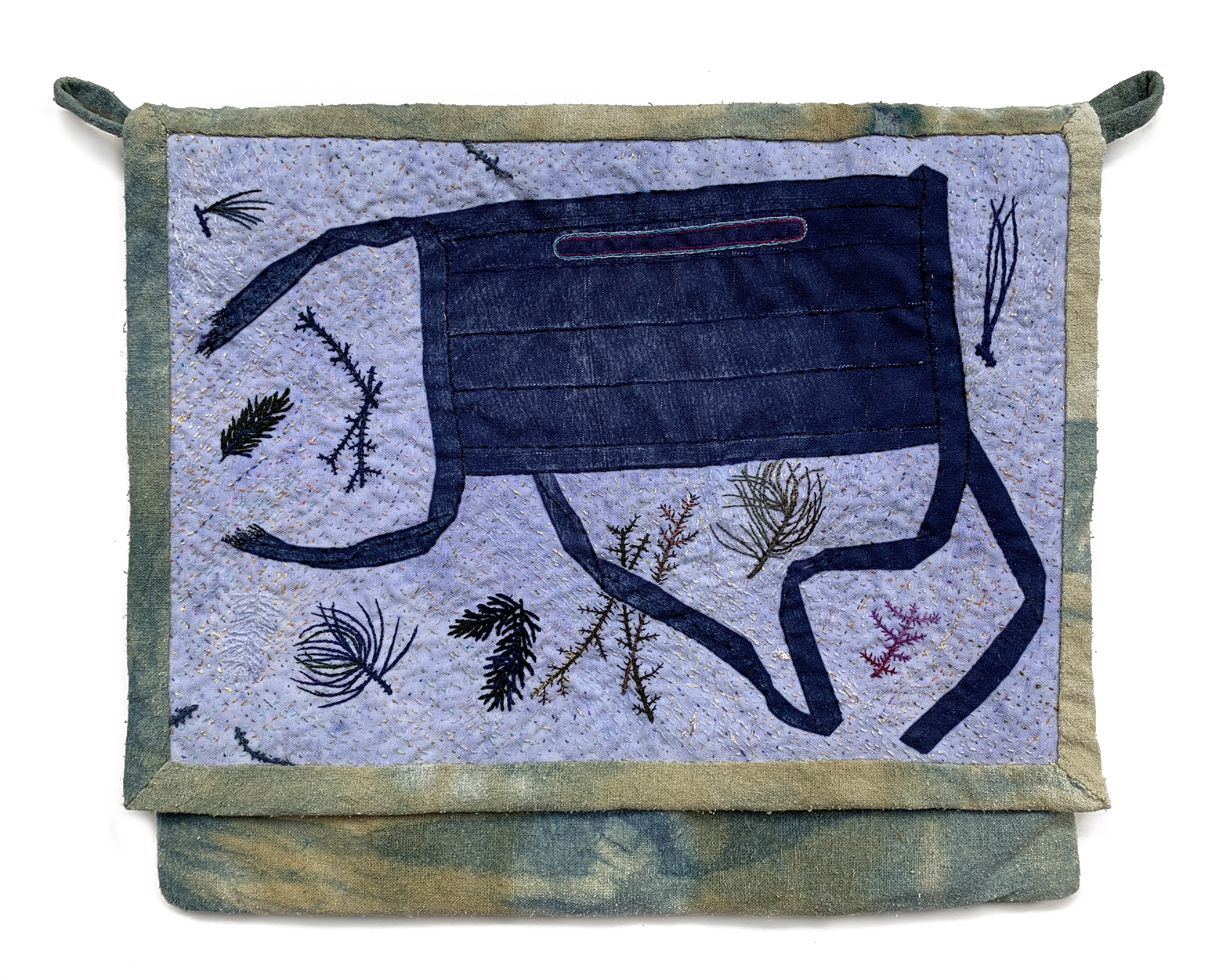 """2020 Supply Bag, Bag: raw silk dyed with marigolds and indigo. Front panel: photo transfer, embroidery, and fabric paint on polyester. 10 1/4"""" x 12 1/4""""."""